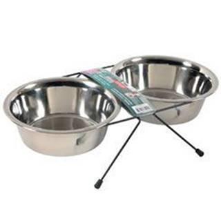 Miska nerez stojan+2 misky pes STEEL 0,35l Zolux