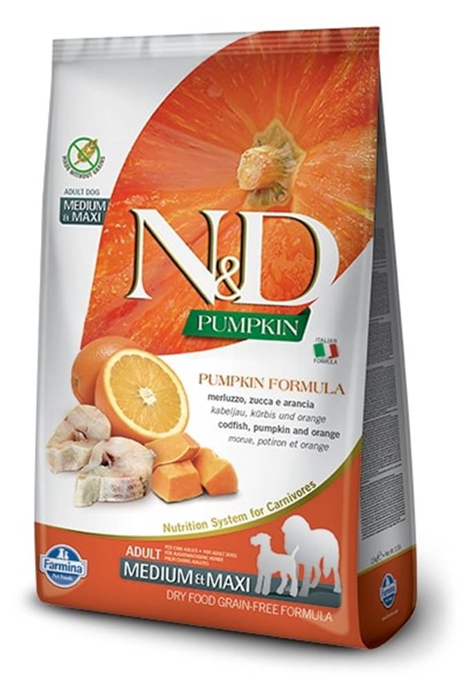Natural&Delicious N&D dog GF PUMPKIN ADULT M/L codfish/orange - 2,5kg