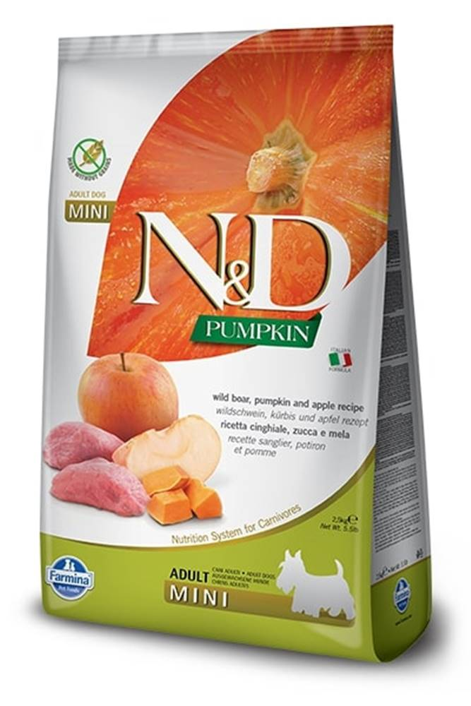 Natural&Delicious N&D dog GF PUMPKIN ADULT MINI boar/apple - 800g
