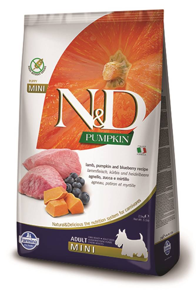 Natural&Delicious N&D dog GF PUMPKIN ADULT MINI lamb/blueberry - 800g