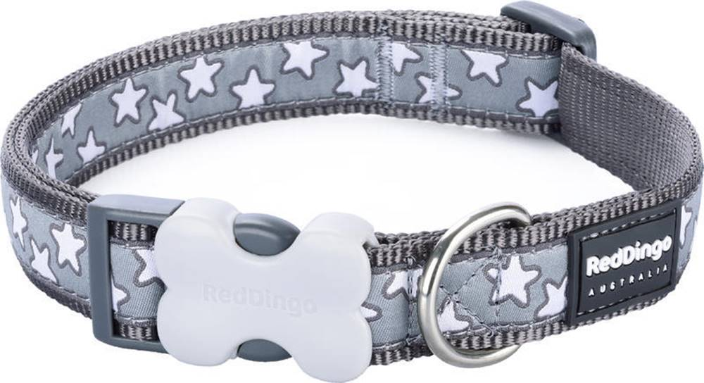 Red-dingo Obojek RD stars COOL GREY - 1,2cm/20-32cm