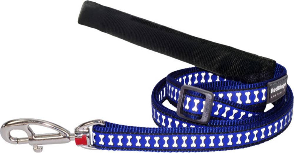 Red-dingo Vodítko RD REFLECTIVE bones DARK BLUE - 1,2/1,8m