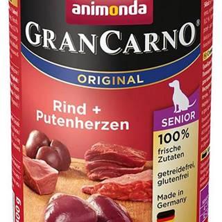 Animonda dog konzerva Gran Carno Senior hovädzie / morčacie srdcia - 400g