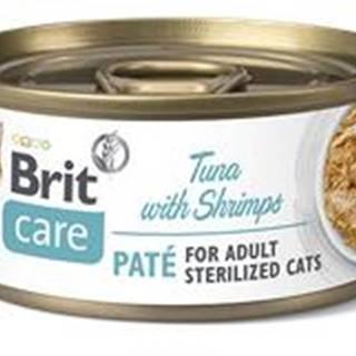 BRIT CARE cat konz. STERILISED TUNA paté/shrimps - 70g