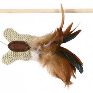 HRAČKA udice s jutovým motýlikom s perím a catnipom - 45 cm