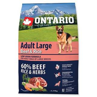 ONTARIO dog  ADULT LARGE beef and rice - 2,25kg