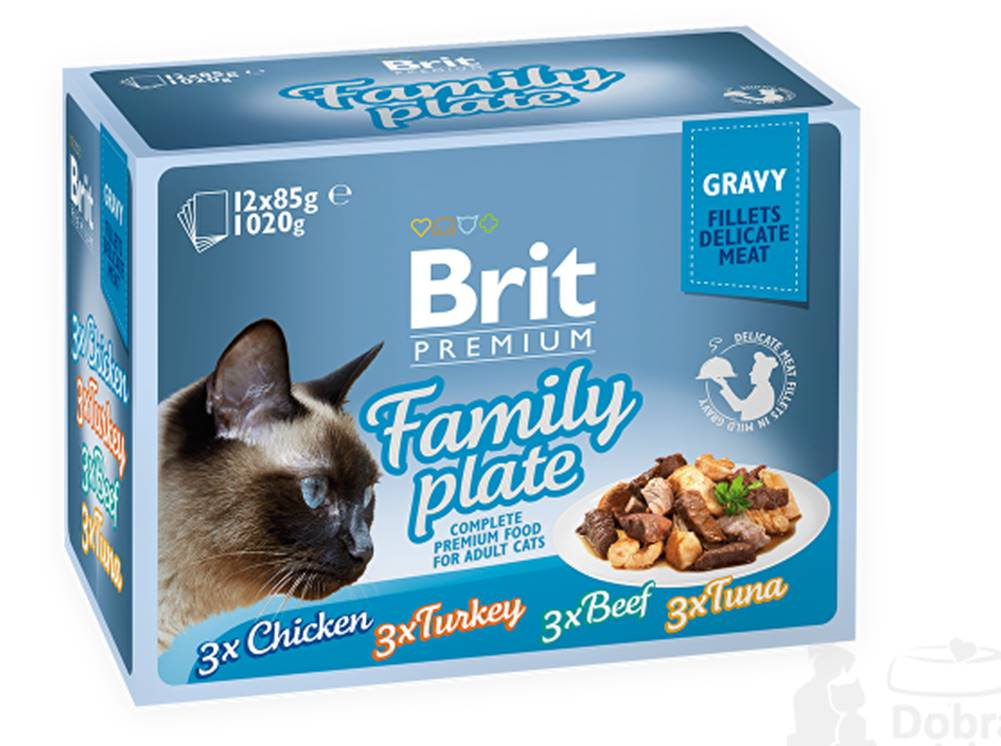 Brit Brit Premium Cat D Fillets in Gravy Family Plate 1020g