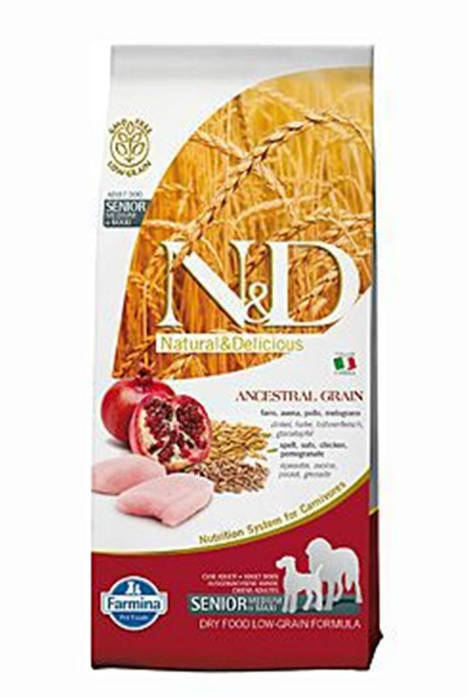 N&D N&D Low Grain DOG Senior Med&Maxi Chicken&Pomegr 12kg
