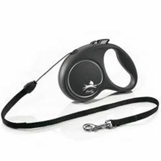 Vodítko FLEXI Black Design S lanko 5m / 12kg strieborná NEW