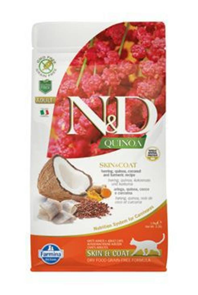 N&D N&D GF Quinoa CAT Skin&Coat Herring & Coconut 1,5kg