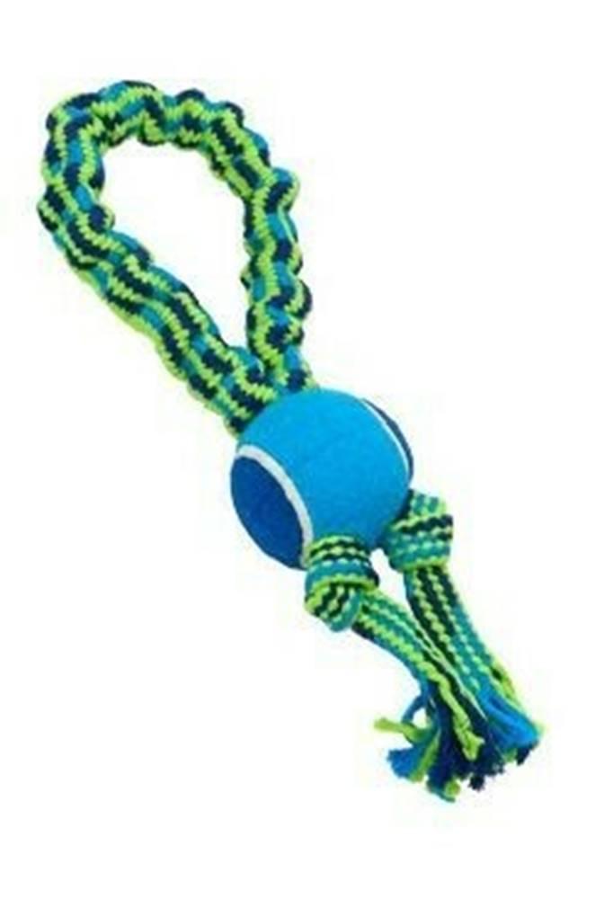 Kruuse Jorgen A/S Hračka pes Bungee Slučka s tenisákom modrá / zelená 33cm